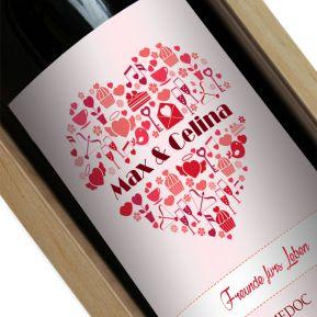 Weinflasche mit Namen in Herz