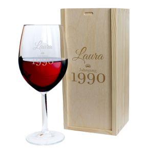 Weinglas mit Gravur zum Geburtstag