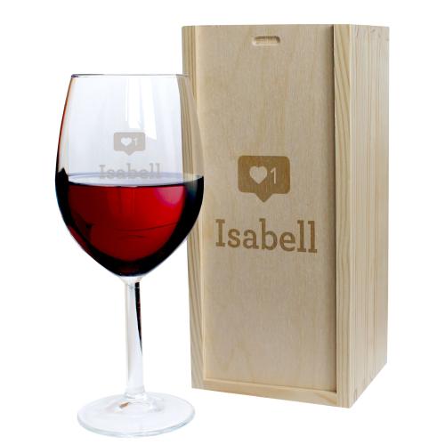 Weinglas mit Holzskiste Like