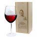 Weinglas mit Vorname und gravierter Holzkiste