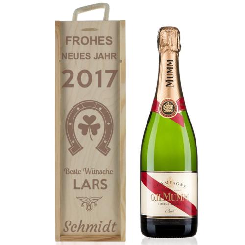 Weinkiste Cjampagner Neujahr mit Gravur