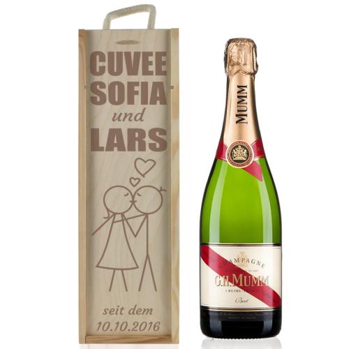 Weinkiste Champagner Valentinstag mit Gravur