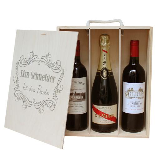 Weinkiste für 3 Flaschen mit Gravur