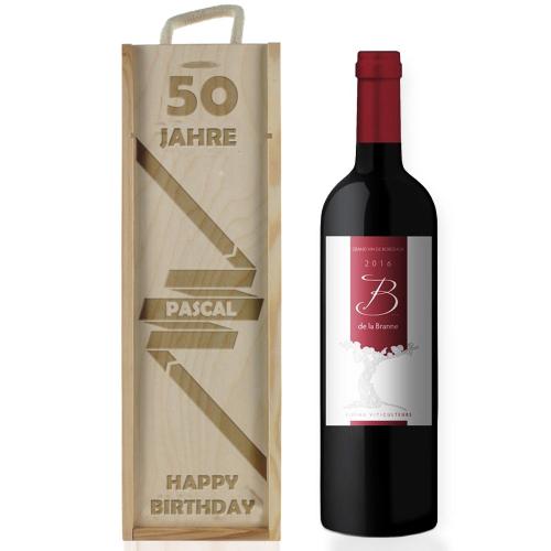 Weinkiste zum Geburtstag mit Gravur