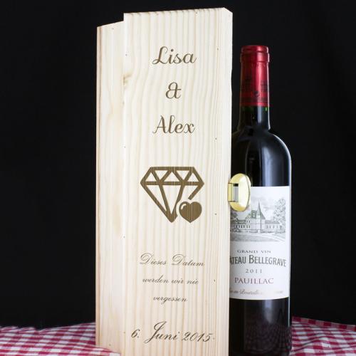 Weinkiste zur Hochzeit mit Gravur - Wein