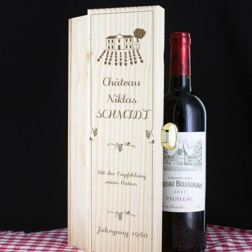 Weinkiste Tradition mit Gravur Flasche