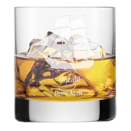 Whiskyglas des Seemanns mit Gravur
