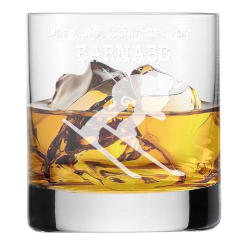 Whiskyglas mit Gravur für Sportler Ski