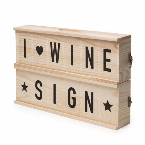 Wine Sign Holzkiste Weinflasche
