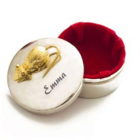 Gravierte Zahndose Goldfarbene Maus