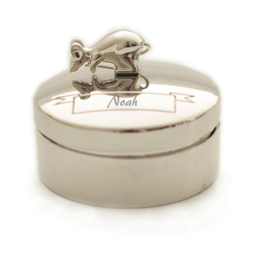 Gravierte Zahndose Silberfarbene Maus
