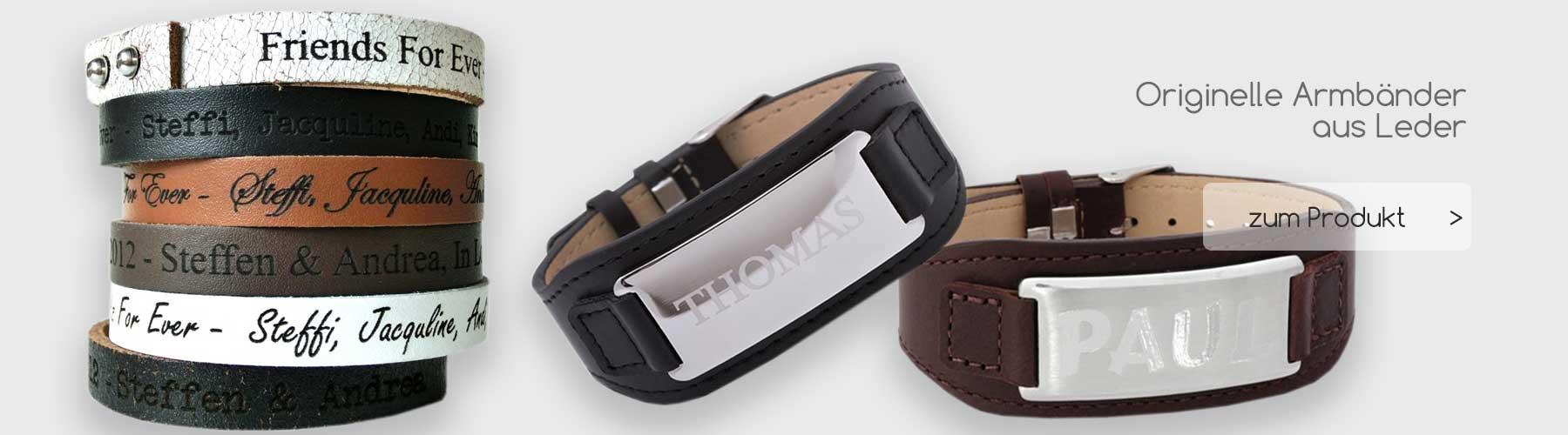 Originelle Geschenkideen Armbänder - Leder