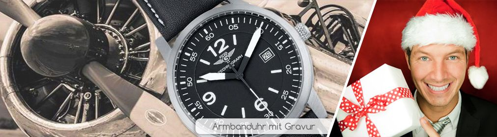 Armbanduhr Technograph Pilote mit Gravur