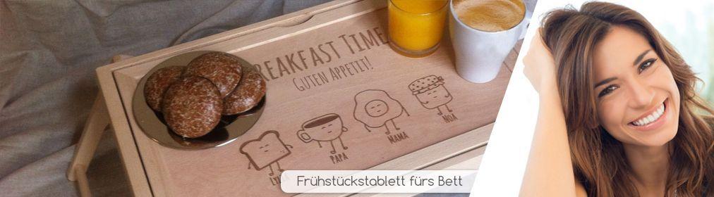 Frühstückstablett fürs Bett mit Gravur