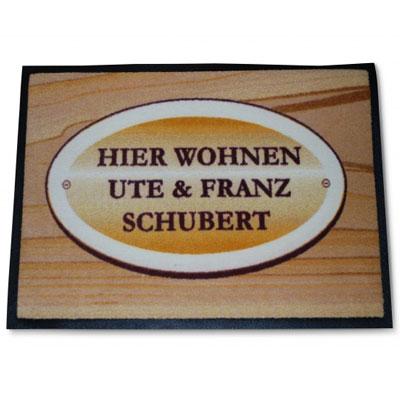 personalisierbare Fußmatte Holz mit Schild