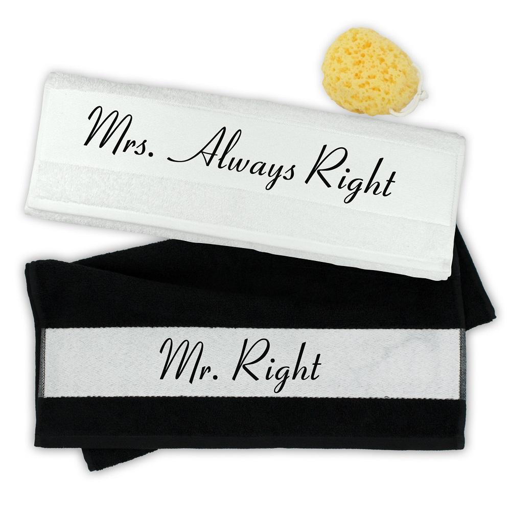 handtuch 2er set mr right mrs always right ein. Black Bedroom Furniture Sets. Home Design Ideas