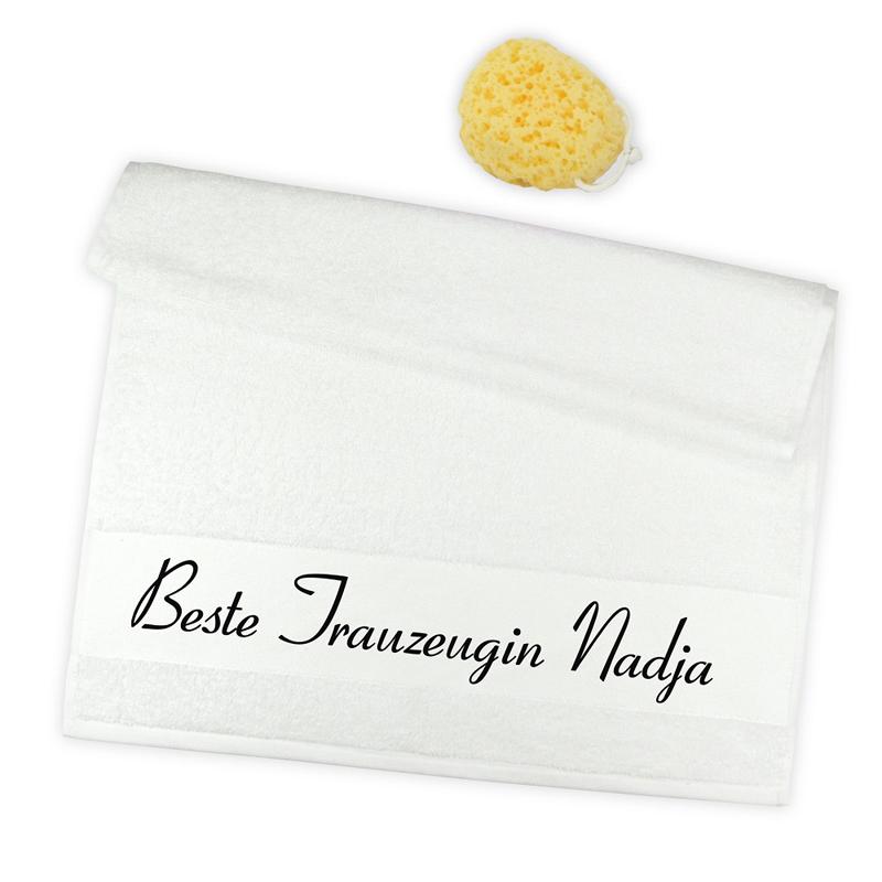 personalisiertes handtuch beste trauzeugin ein pers nliches geschenk als unikat geschenkegarten. Black Bedroom Furniture Sets. Home Design Ideas