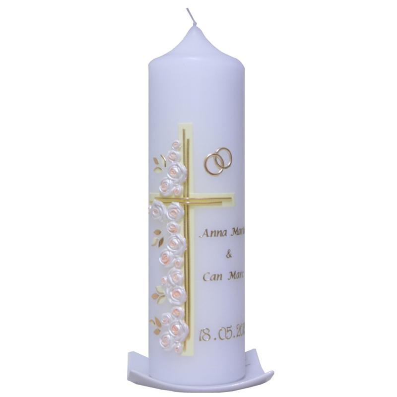 Hochzeitskerze Kreuz mit Rosen, ein persönliches Geschenk als Unikat ...