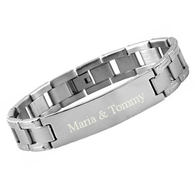 2b95bbcf7135 JewelryWe Schmuck Edelstahl Armband mit Gravur Silber Link Panzerkette  Panzerarmbänder 21.2CM JW65P00008