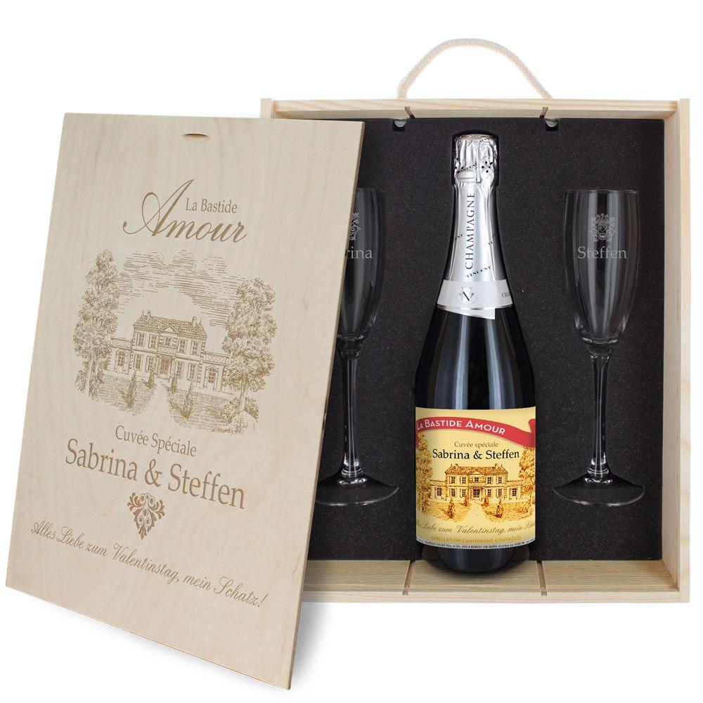 3-teiliges Champagner-Set für Verliebte
