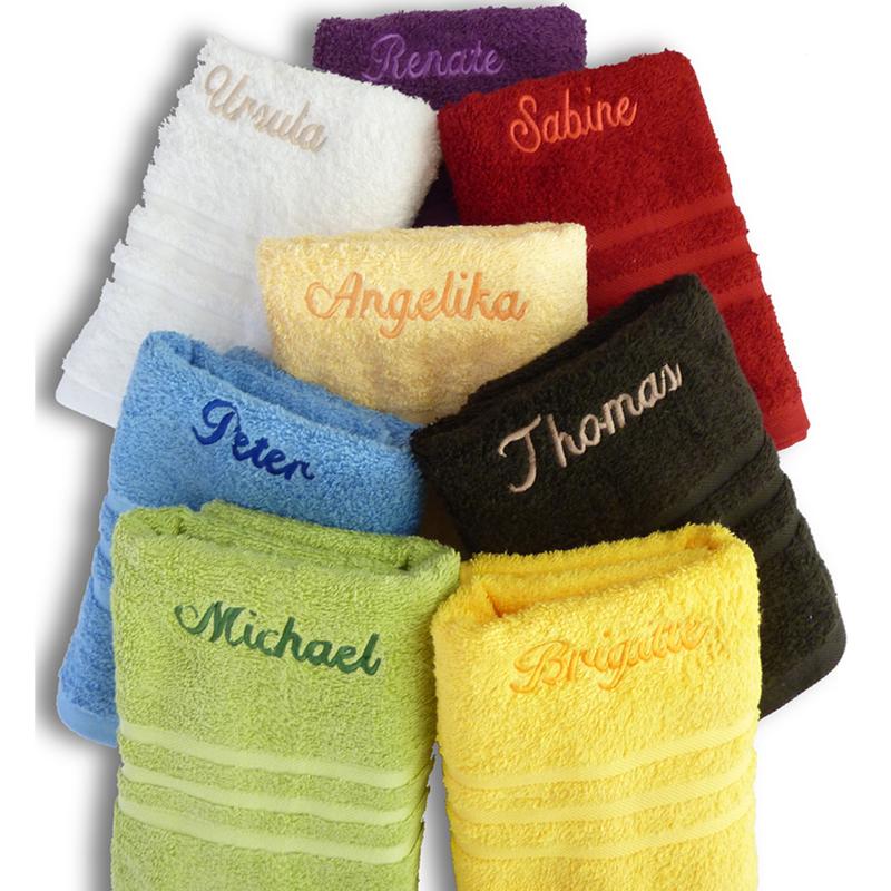 handtuch mit namen verschiedene farben ein pers nliches geschenk als unikat geschenkegarten. Black Bedroom Furniture Sets. Home Design Ideas