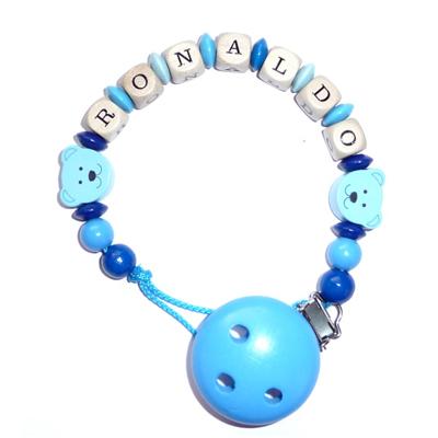 Schnullerkette Minibär Babyblau