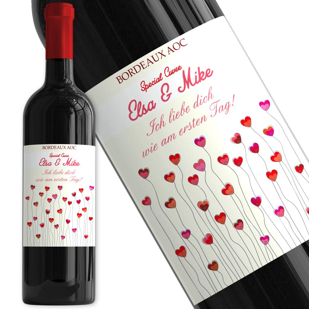 Personalisierte Weinflasche Herzen