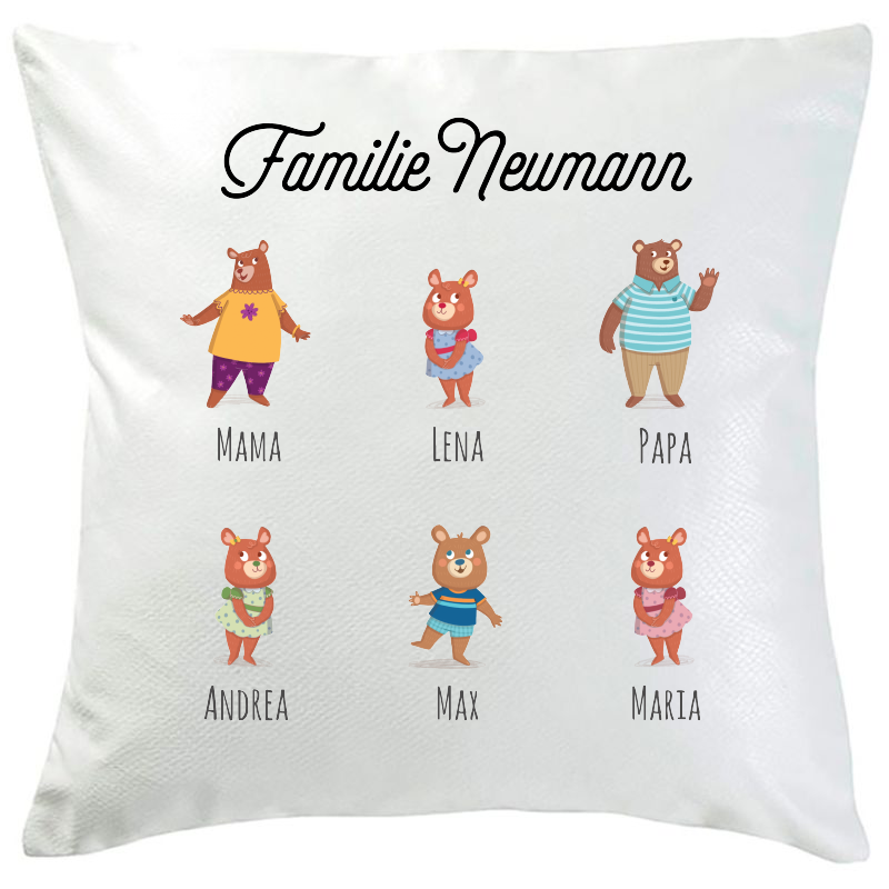 Personalisiertes Kissen Bärenfamilie