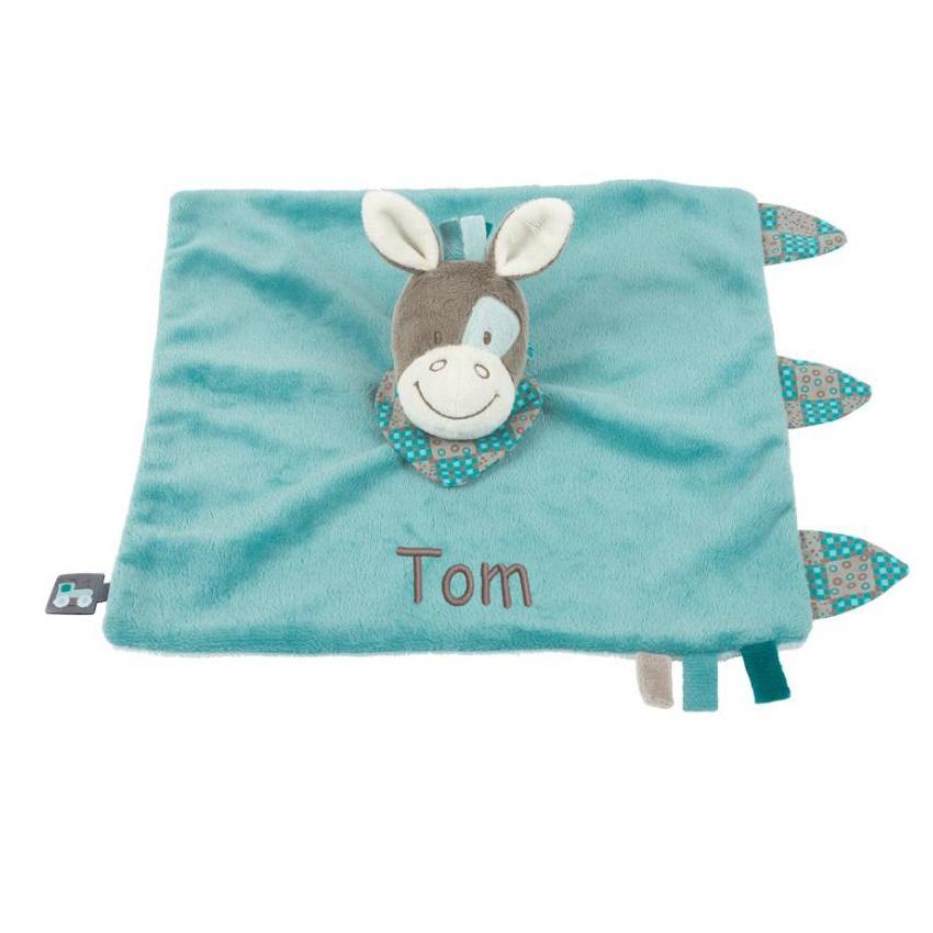 Personalisiertes Schmusetuch Esel blau