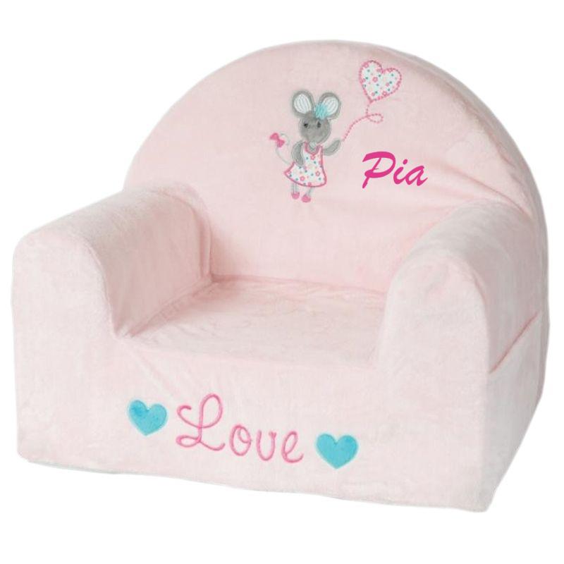 schaum sessel f r kinder maus mit stickerei ein pers nliches geschenk als unikat geschenkegarten. Black Bedroom Furniture Sets. Home Design Ideas