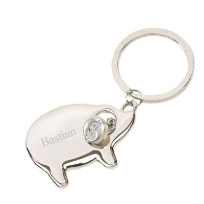 Schlüsselanhänger Schwein mit Gravur