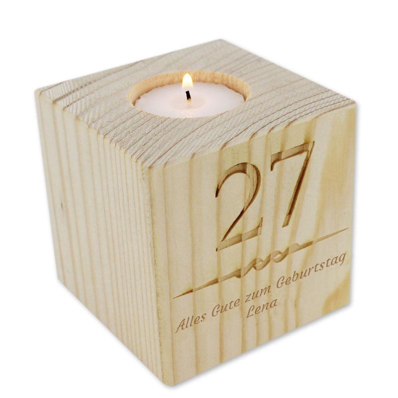 Teelichthalter aus Holz mit Name, ein persönliches Geschenk als ...