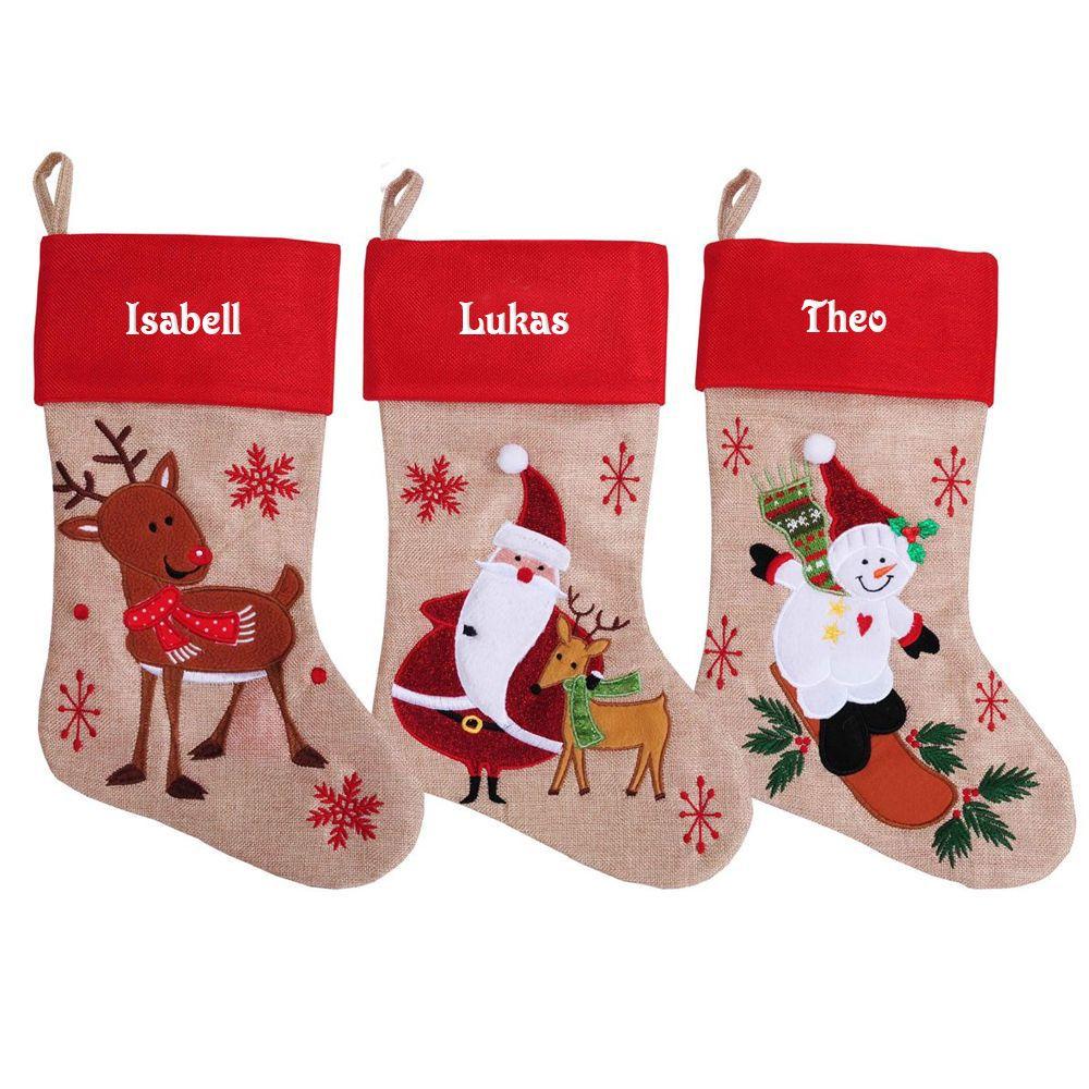 Personalisierter Weihnachtsstiefel im Leinen-Stil