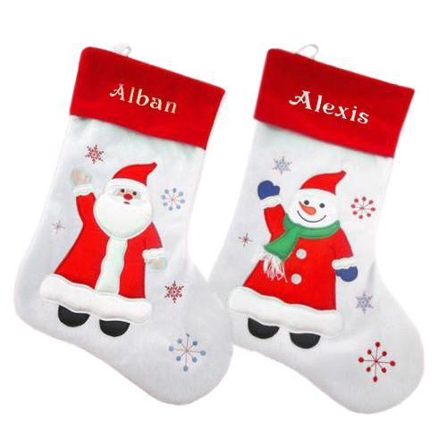 weihnachtsstrumpf wei mit name ein pers nliches geschenk als unikat geschenkegarten. Black Bedroom Furniture Sets. Home Design Ideas
