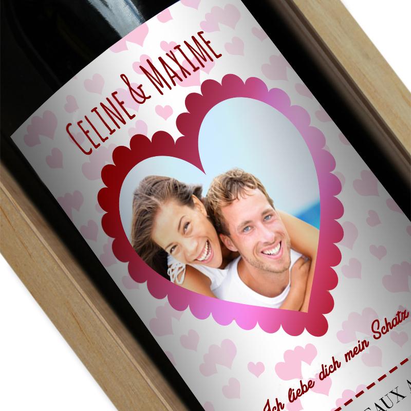 Weinflasche mit Foto Herz